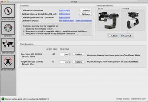 Blade 350 QX3 calibration screen