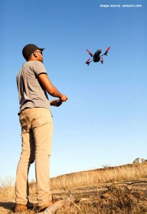 Parrot AR.Drone 2.0 in the air